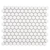 """Retro 0.875"""" x 0.875"""" Hex Porcelain Mosaic Tile in Glossy White"""