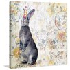 """Marmont Hill """"Party Rabbit"""" by Morgan Jones Graphic Art on Wrapped Canvas"""