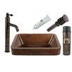"Premier Copper Products 17"" x 14"" Vessel Kitchen Sink with Faucet"