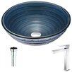 ANZZI Tempo Deco-Glass Circular Vessel Bathroom Sink
