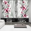 Artgeist Pink Orchids on Platinum 280cm x 400cm Wallpaper