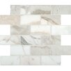 """MS International Calacatta Gold Mounted 2"""" x 4"""" Marble Subway Tile in White"""