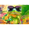 NEXT! BY REINDERS 'Summer Time Frog' by Michael Tarin Graphic Art Print on Wood
