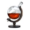 The Wine Savant Etched World 28 oz. Globe Decanter with Wood Bottom