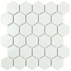 "Retro Hexagon 2"" x 2"" Porcelain Mosaic Tile in Glossy White"