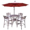 Beachcrest Home Claremont 5 Piece Bar Set with Cushions
