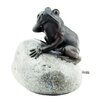 Blagdon Frog and Boulder Liberty Water Spitter Resin Solar Fountain