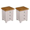 Hazelwood Home Vigo 3 Drawer Bedside Table (Set of 2)