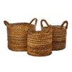 Castleton Home 3 Piece Wicker Storage Basket Set