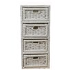 Woodluv 4 Drawer Wicker Cabinet