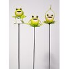 Urban Designs Yoga Frog 3 Piece Garden Stake Set