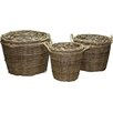 Castleton Home 3 Piece Round Wild Willow Log Basket Set with Rope Handle