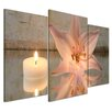 Bilderdepot24 Lily and Candle 3-Piece Photographic Print on Canvas Set