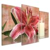 Bilderdepot24 Lily Blossom with Candle 3-Piece Photographic Print on Canvas Set
