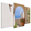 Bilderdepot24 Santorini Gate 3 Piece Photographic Print on Canvas Set
