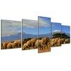 Bilderdepot24 Elephants at Kilimanjaro 5 Piece Photographic Print on Canvas Set
