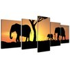 Bilderdepot24 Elephant Family 5 Piece Photographic Print on Canvas Set