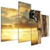 Bilderdepot24 Mountain Climbers at Sunset 4-Piece Photographic Print on Canvas Set