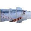 Bilderdepot24 Golden Gate Bridge in San Francisco, California 5 Piece Photographic Print on Canvas Set