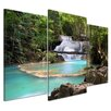 Bilderdepot24 Forest Waterfall 3-Piece Photographic Print on Canvas Set