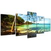 Bilderdepot24 Tropical Beach Under Blue Sky 5-Piece Photographic Print on Canvas Set
