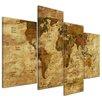 Bilderdepot24 Retro World Map II 4-Piece Graphic Art on Canvas Set
