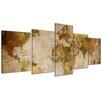 Bilderdepot24 Retro World Map II 5-Piece Graphic Art on Canvas Set