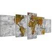 Bilderdepot24 Retro World Map II 5-Piece Graphic Art on Canvas Set in Black and White