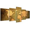 Bilderdepot24 World Map 5-Piece Graphic Art on Canvas Set