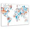 Bilderdepot24 World Map Social Media Pictograms Framed Graphic Art on Canvas