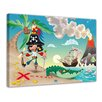Bilderdepot24 Pirate on Island Cartoon Framed Children's Graphic Art on Canvas