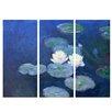 Bilderdepot24 'Water Lilies' by Claude Monet 3 Piece Painting Print Set on Canvas