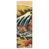 Bilderdepot24 'Yoshitsune Umarai Waterfall' by Katsushika Hokusai Framed Oil Painting Print on Canvas
