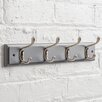 Maine Furniture Co. Heritage Wooden Wall Mounted Coat Rack with 4 Hooks