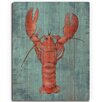 Click Wall Art 'Lobster in Red Nautical' Painting Print on Wood