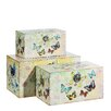 ChâteauChic 3 Piece Butterfly Wood and Fabric Box Set