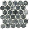 "Splashback Tile Ambrosia 2"" x 2"" Marble Mosaic Tile in Dark Gray/White"