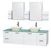 "Wyndham Collection Amare 72"" Double White Bathroom Vanity Set with Medicine Cabinet"