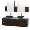 """Wyndham Collection Amare 72"""" Double Espresso Bathroom Vanity Set with Medicine Cabinet"""