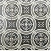 "EliteTile Annata 9.75"" x 9.75"" Porcelain Patterned/Field Tile in White/Dark Gray"
