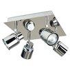 MiniSun Benton Square Plate 4 Light Ceiling Spotlight