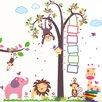 Walplus Nursery Monkey Height Measure and Huge Elephant Animals Wall Decal