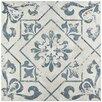 """EliteTile Lotus 17.75"""" x 17.75"""" Ceramic Patterned Tile in Blue"""