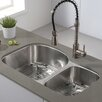 "Kraus 32.38"" x 20.5"" Double Basin Undermount Kitchen Sink with NoiseDefend™ Soundproofing"