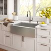"Kraus Stainless Steel 29.75"" x 20"" Farmhouse Kitchen Sink with NoiseDefend™ Soundproofing"