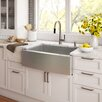 "Kraus Stainless Steel 33"" x 20.75"" Farmhouse Kitchen Sink with NoiseDefend™ Soundproofing"