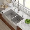 "Kraus Stainless Steel 35.88""x 20.75"" Double Basin Farmhouse Kitchen Sink with NoiseDefend™ Soundproofing Rectangular  Bathroom Sink"