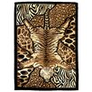 DonnieAnn Company Tiger and Animal Skins Print Patchwork Design Brown Area Rug