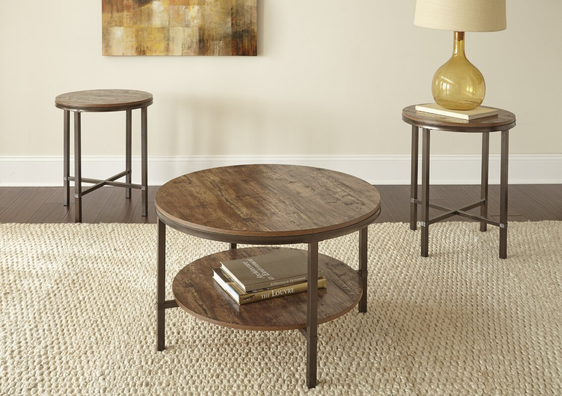 mercury row absher 3 pieces coffee table set & reviews | wayfair
