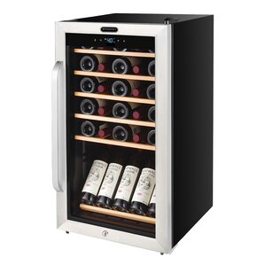34 Bottle Freestanding Stainless Steel Wine Refrigerator with Display Shelf and Digital Control